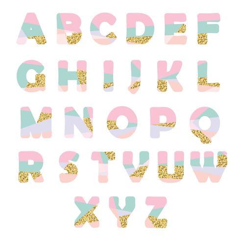 Modern abstract lettertype met glitter vector
