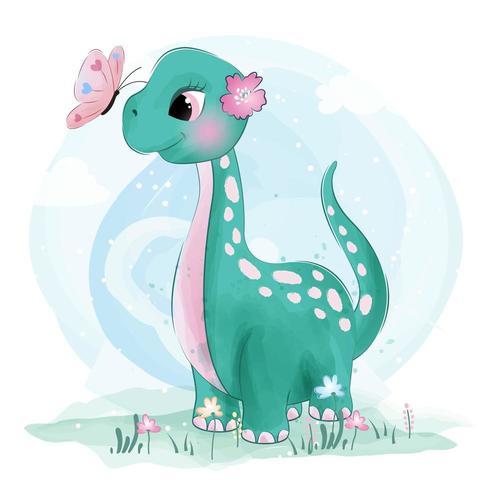 Schattige kleine Brachiosaurus-dinosaurus met vlinders vector