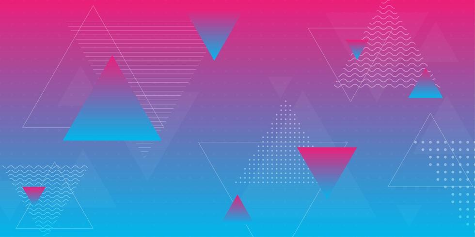 Roze en blauw verloop met driehoeksvormen vector