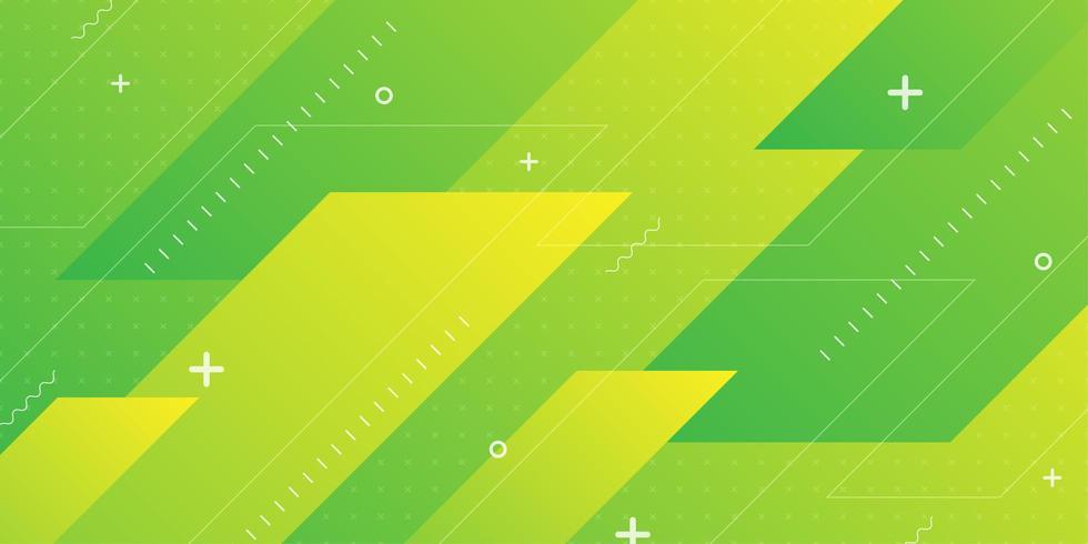 Geelgroene diagonale hoek overlappende vormen vector
