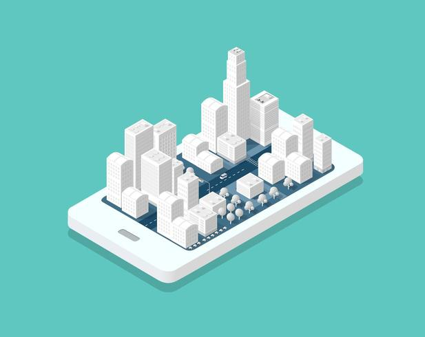 3D-kaart isometrische stad vector