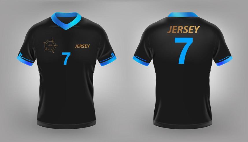 Zwart voetbal of voetbalshirt mock up vector