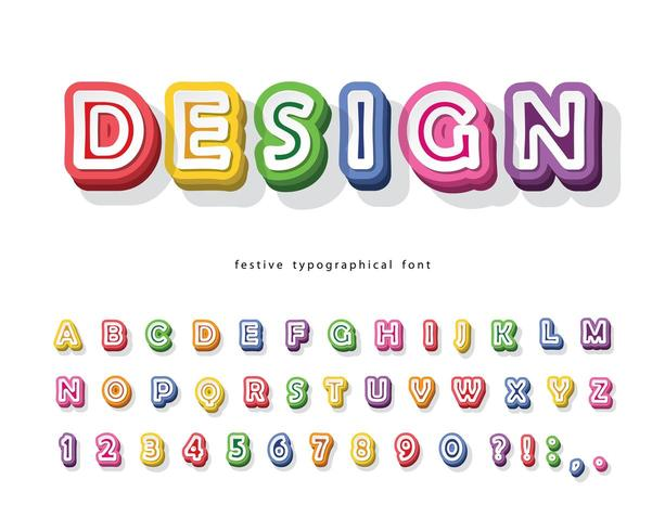 Modern 3d helder lettertype. vector