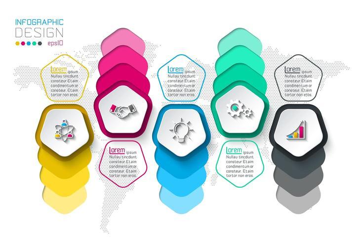 Vijfhoeken label infographic met 5 stappen. vector