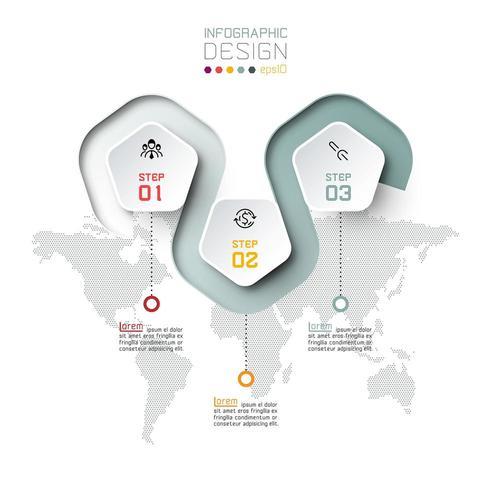Pentagon label met kleurlijn gekoppelde infographics. vector