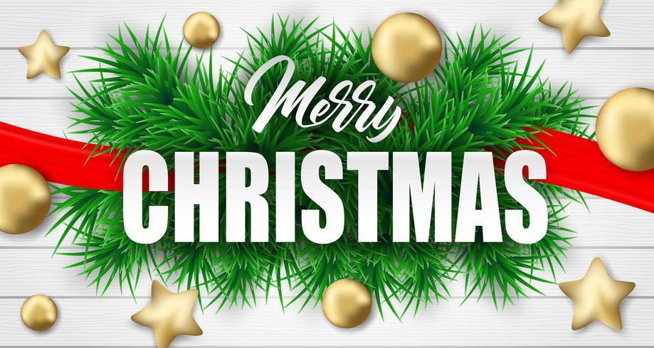Vrolijk Kerstmisontwerp met kerstboomtakken en ornamenten op wit hout vector