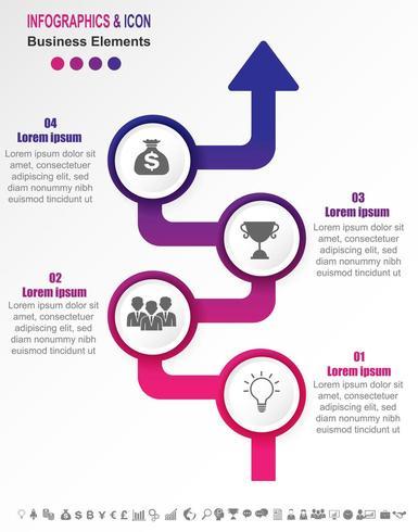 Infographic zakelijke tijdlijn met 4 stappen op verloop pijl vector
