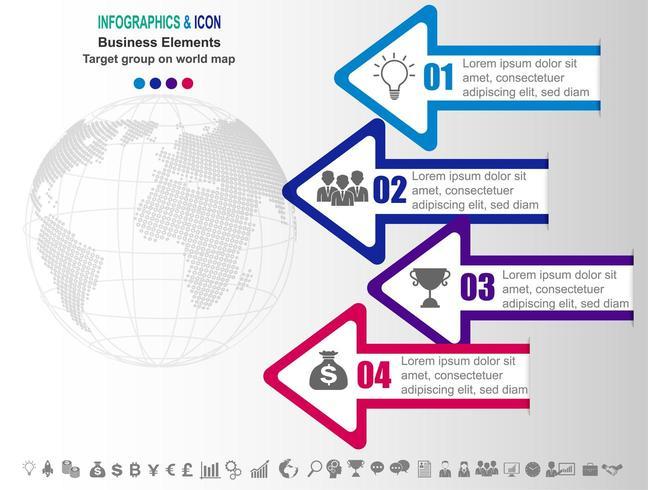 Infographic zakelijke tijdlijn met pijlen en 4 opties vector