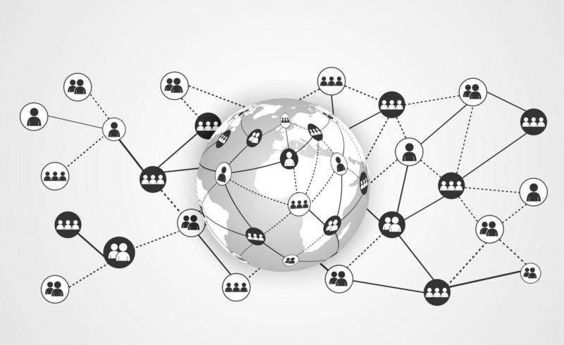 Communicatie van wereldwijde bedrijven met wereldkaart en verbonden gebruikers vector