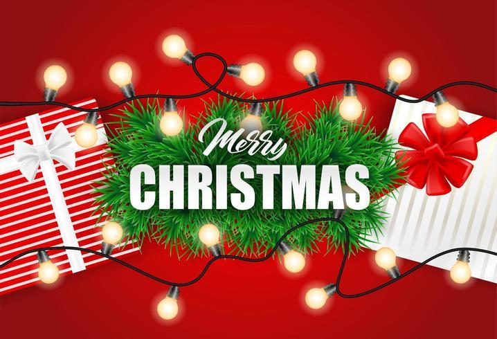 Kerst ontwerp met kerstboom lichten en geschenkdozen op rood vector