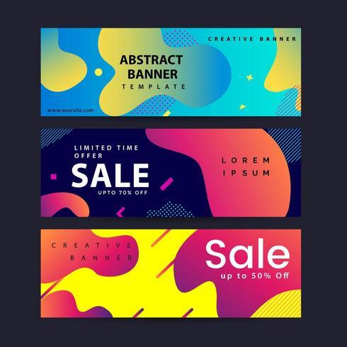 Set van abstracte moderne grafische vloeibare banners vector