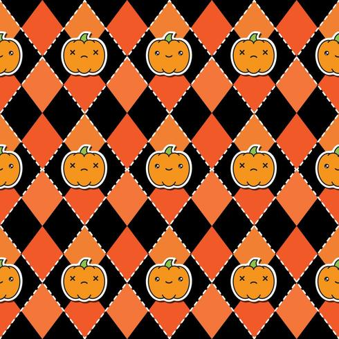 Naadloos Halloween-patroon met pompoenen op argyle zwarte en oranje achtergrond. vector
