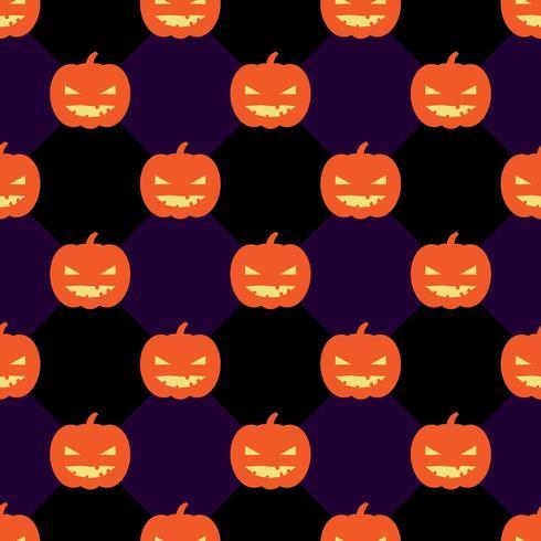 Naadloos Halloween-patroon met pompoenen op ruit zwarte en violette achtergrond. vector