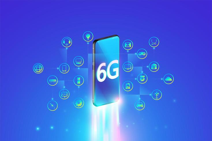 6G-systeem snelste internetverbinding met smartphone en internet of things-concept vector