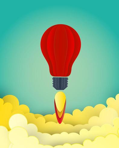 Raket licht idee lancering ruimte papier kunststijl vector