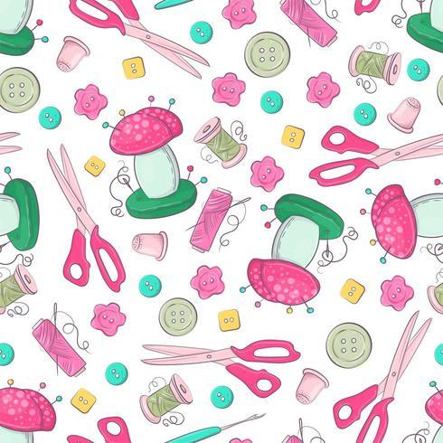 Naadloos patroon van naaiende accessoires. vector