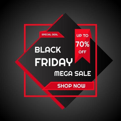 Zwarte vrijdag mega verkoop poster vector