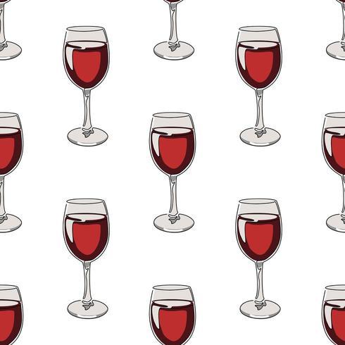 Naadloze patroonachtergrond met glazen rode wijn. vector