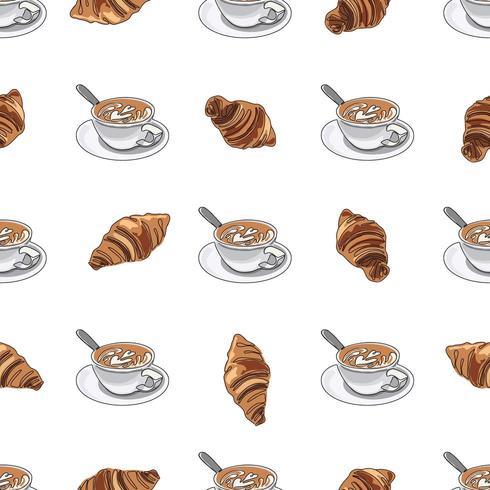 Naadloze patroon kopje koffie of cappuccino met croissants. vector