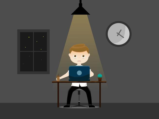Slaperige zakenman die 's nachts werkt vector