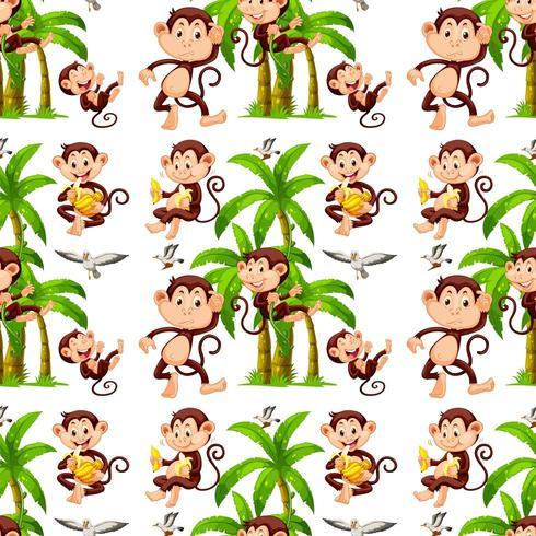 Naadloze apen en kokospalmen vector