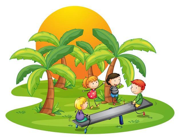 Kinderen spelen geschommel in de buurt van de kokospalmen vector