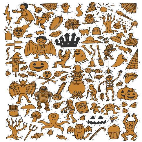 Verzameling van cute halloween cartoon vector