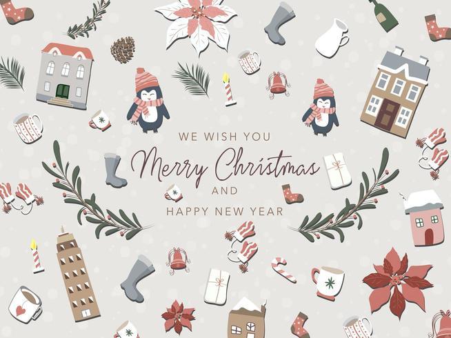 Verzameling van cute kerst elementen vector