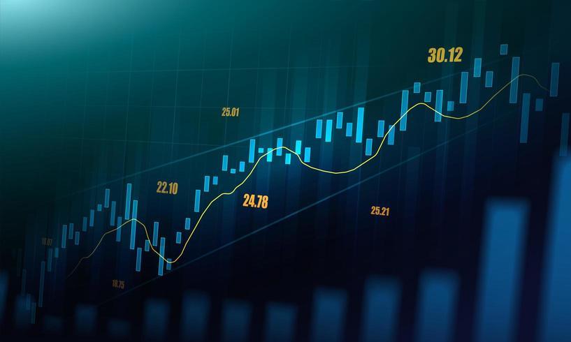 Effectenbeurs of forex trading grafiek in grafisch concept vector