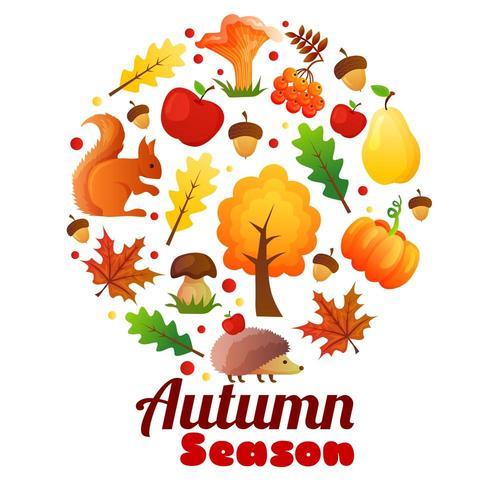 herfst seizoen krans ronde vector