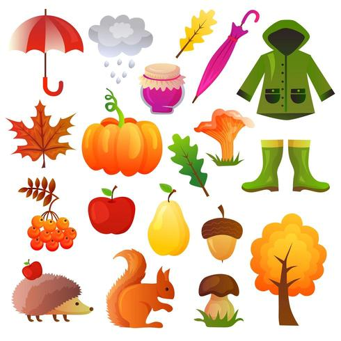 herfst pictogram vector set collectie