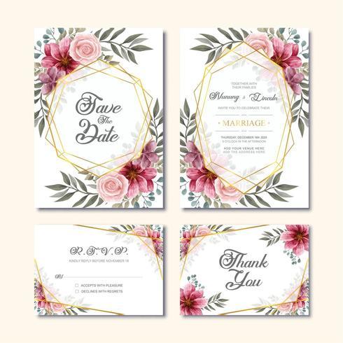 Vintage bruiloft uitnodigingskaart met aquarel bloem decoratie vector
