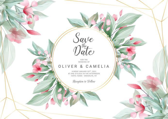 Horizontale bruiloft uitnodigingskaartsjabloon vector
