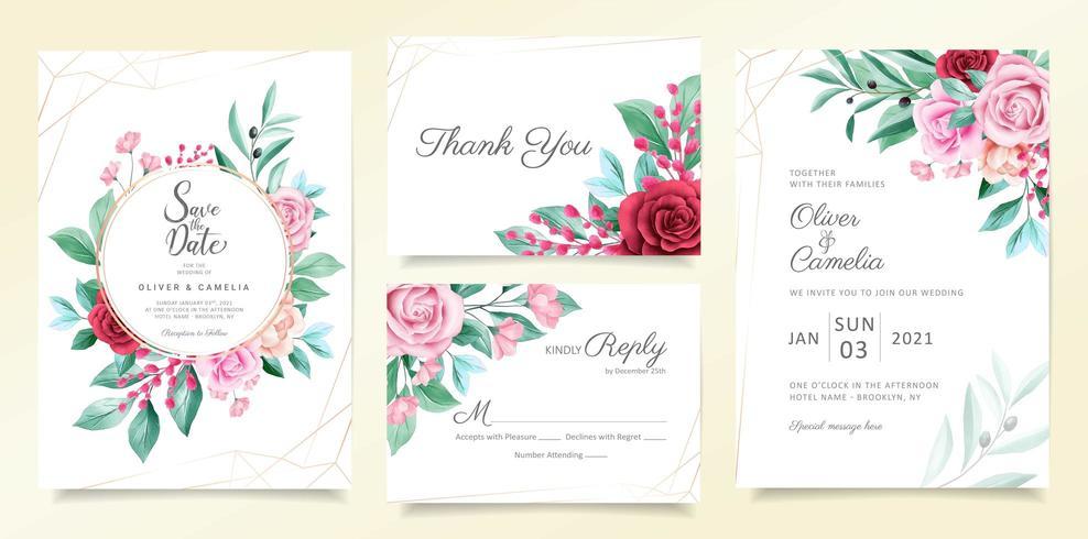 Moderne bruiloft uitnodiging kaartsjabloon set vector