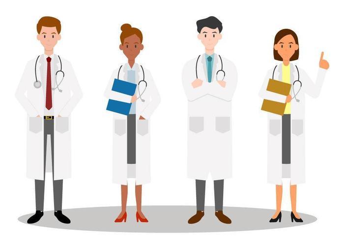 Set van mannen en vrouwen artsenteam. vector
