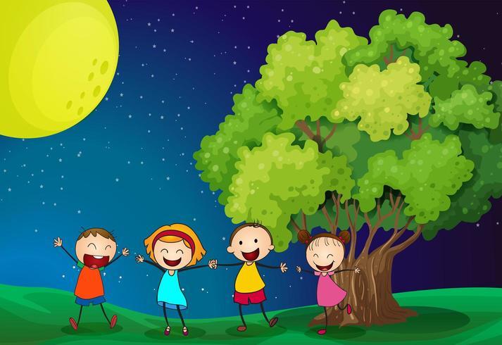 Kinderen spelen graag in de buurt van de boom vector