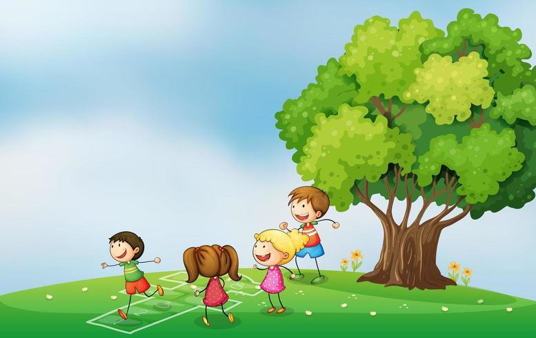 Kinderen spelen op de heuveltop in de buurt van de boom vector
