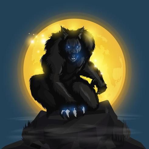 Weerwolf en volle maan vector