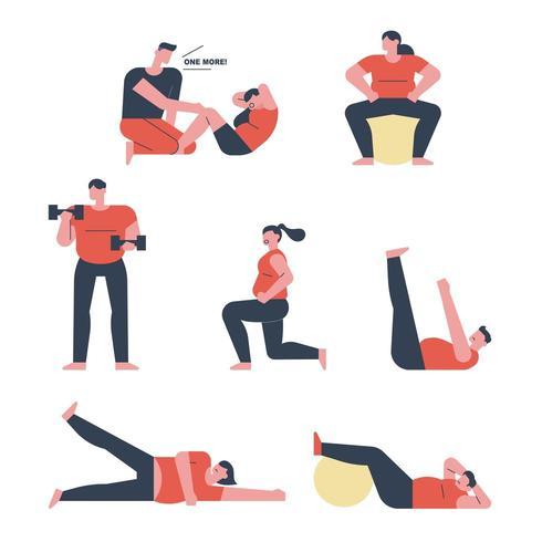 Mensen die trainen met gewichten. vector