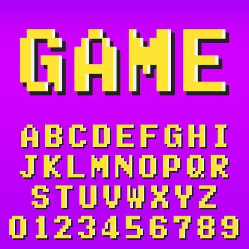 Oude pixel video game alfabet lettertype sjabloon vector