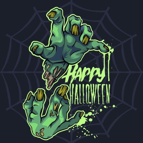 De zombie overhandigt Halloween vector