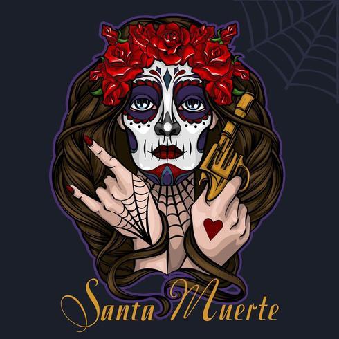 Santa Muerte Dia de muertos Halloween vector