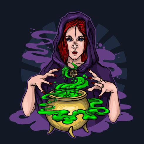 Roodharige heks brouwt een drankje en tovert op Halloween vector