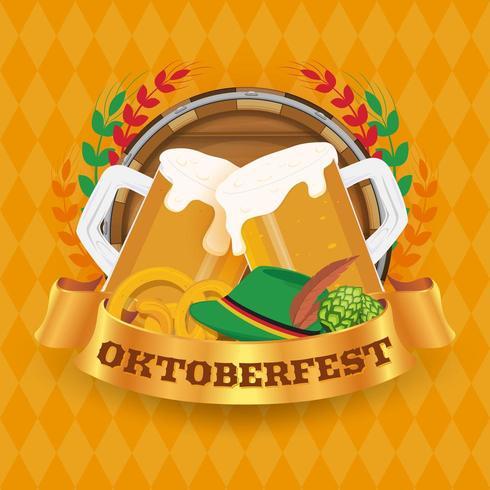 Oktoberfest bierfestival badge en achtergrond concept vector