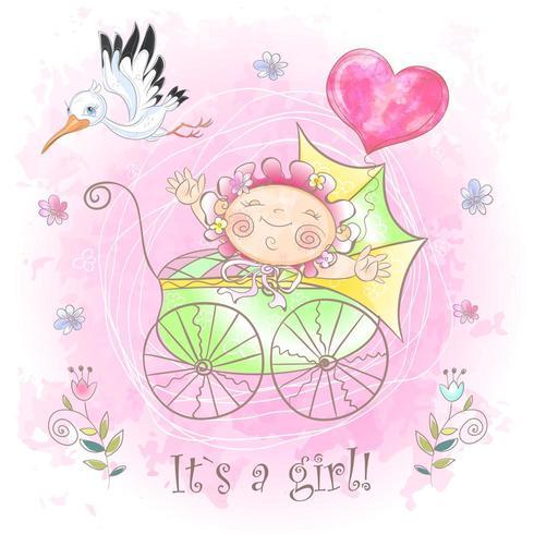 Babymeisje in de wandelwagen. Ik ben geboren. Babyshower. Waterverf vector