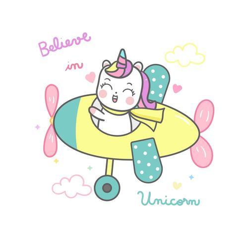 Leuke eenhoorn cartoon, Happy Pony cartoon Kawaii dier vliegend vliegtuig een piloot. vector
