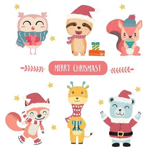 Schattig gelukkig pastel dier in Merry Christmas thema-collectie plat vector