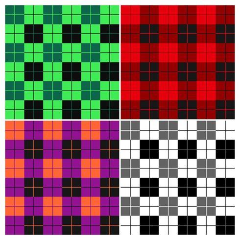 Houthakker geruite patroon set vector