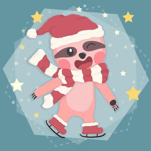 schattig gelukkig luiaard in winter kostuum kerst schaatsen vector