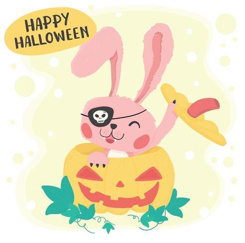Leuk roze gelukkig konijntjeskonijn in gele pompoen vector